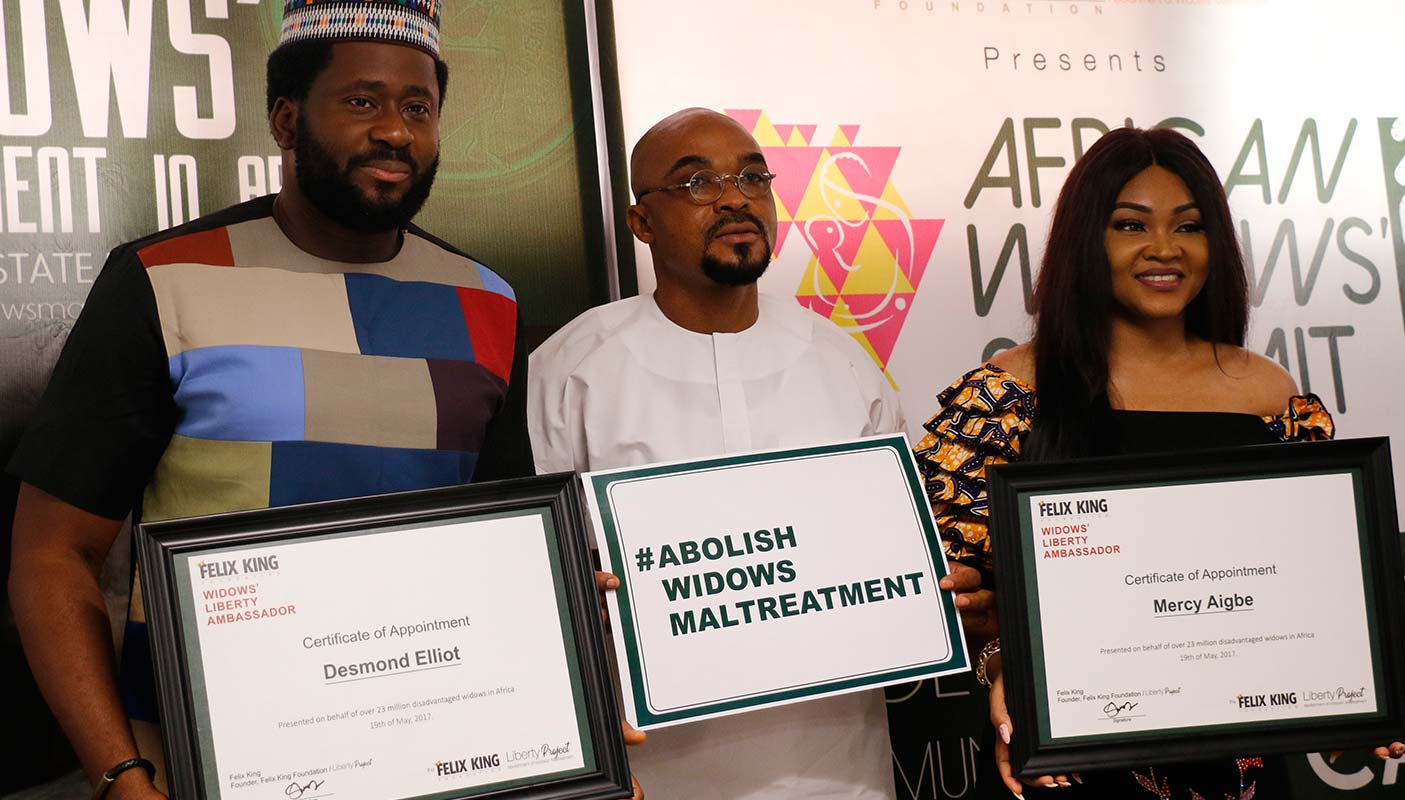 Felix king foundation signs ambassadors from Nollywood ( Desmond Elliot and Mercy Aigbe ) to help in the campaign against widows maltreatment in Nigeria.